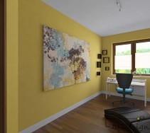 Żółta ściana pokoju z dużym obrazem.