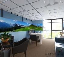 Projekt biura z przepiękną fototapetą przedstawiającą górski pejzaż.