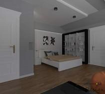 Projekt aranżacji dużego wnętrza - kącik sypialniany w odcieniach bieli i szarości.