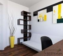 Brązowy, designerski regał na książki oraz wyrazisty wazon na tle białej ściany.