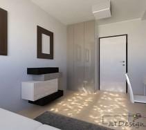 Jasne wnętrze pokoju z oryginalną kolorową komodą oraz szafą wtapiającą się w odcień ściany.