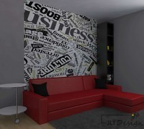 Duży czerwony narożnik na tle graficznej ściany w szarości i bieli.