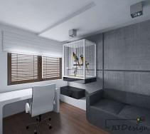 Przestronna aranżacja wnętrza pokoju z przeznaczeniem do pracy.