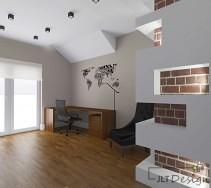 Projekt otwartego, minimalistycznego wnętrza pokoju do pracy.