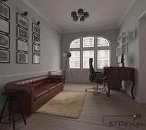 Kontrastujący element w postaci bordowej sofy i ciemnej barwy biurka w szarości wnętrza.