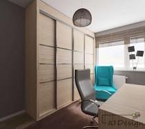 Duża jasna szafa oraz kolorowe fotele do pracy .