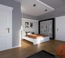 Szare wnętrze z dużym jasnym łóżkiem sypialnianym.