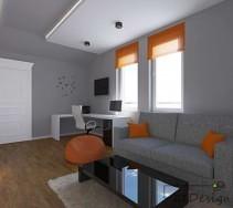 Białe biurko oraz fotel do pracy a także sufit i drzwi rozjaśniają wnętrze pomieszczenia.