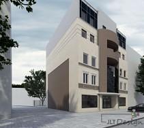 Projekt elewacji budynku komercyjnego. Połączenie brązu, beżu i kremowej bieli