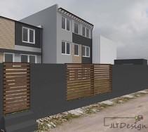 Ogrodzenie działki domu zaprojektowano w sposób nawiązujący kolorystycznie do elewacji domu.