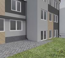 Projekt elewacji domu bazujący na odcieniach szarości. Białe futryny okien kontrastują z kolorem elewacji.