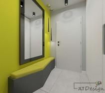 Zielono biały korytarz z miejscem do siedzenia w oryginalnym kształcie
