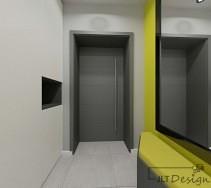 Ciemne drzwi wejściowe z podłużnym uchwytem