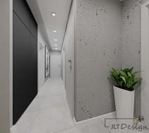 Jasny korytarz z dodatkiem czerni i szarości