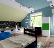 Niebieski, czarny i zielony w pomysłowym pokoju dziecięcym