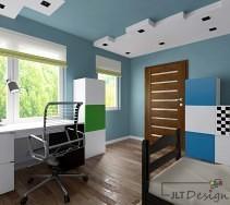 Pokój w odcieniach niebieskiego z zielonymi i białymi dodatkami