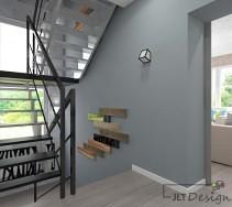 Deski na ścianie w korytarzu zamiast balustrady