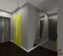 Limonkowe drzwi na tle szarej ściany w aranżacji korytarza.