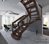 Wnętrze z drewnianymi, zakrzywionymi schodami