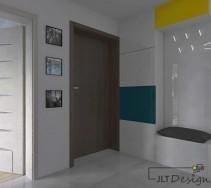 Projekt jasnego korytarza z kolorowymi akcentami