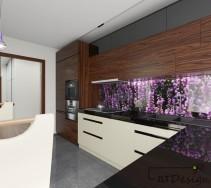 Nowoczesna kuchnia z kwiatową szklaną aplikacją na ścianie za blatem roboczym