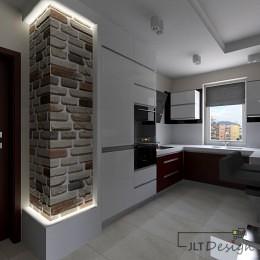 minimalistyczna kuchnia otwarta na salon. chłodny charakter pomieszczenia został przełamany wyeksponowaną ciepłym światłem cegłą. natomiast bordowa zabudowa szafek dodaje całości elegancji.