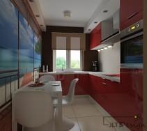 nowoczesna i wyrazista kuchnia z czerwonymi lakierowanymi frontami. uwagę przykuwa nie tylko nasycona czerwień, ale także kolorowa fototapeta umieszczona na przeciwległej ścianie.
