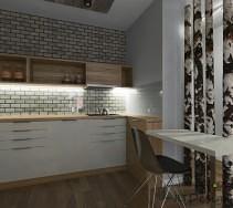 nowoczesna kuchnia, ale nawiązująca do natury zastosowanymi materiałami i elementami dekoracji. zastosowano cegłę, białe fronty, drewniane blaty, korpusy i cokoły szafek oraz pnie brzóz.