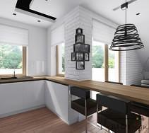 przytulna biała kuchnia z drewnianym blatem, przełamana czarnymi dodatkami. największą uwagę przyciąga czarna ażurowa designerska lampa. dodatkowym elementem aranżacji jest podwieszany sufit.