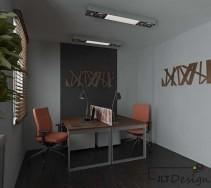 Kącik biurowy z ozdobami na ścianach