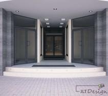 Symetryczne i eleganckie wejście do biurowca