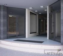 Symetryczne, eleganckie wejście do biurowca