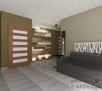 Podświetlona ściana z drewnem