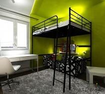 Pokój dla nastolatki z piętrowym łóżkiem, wygodną sofą i białymi meblami