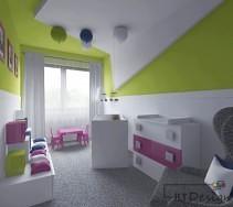 Kolorowe mebelki i dodatki w przytulnym pokoju dizecięcym