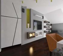 Zabudowa ściany z biokominkiem oraz tv