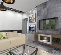 Czarne wiszące lampy w nowoczesnym wnętrzu salonu