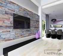 Kamień na ścianach w salonie w nietypowym kolorze