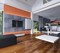 Salon otwarty na kuchnie z betonem na ścianie
