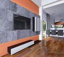 Ściany z betonu w salonie