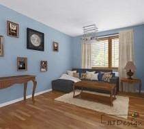 Niebieskie ściany w salonie i stylowe meble