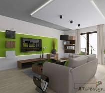 Nowoczesny wystrój salonu z zielonymi dodatkami na ścianie