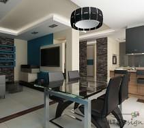 Nowoczesny salon otwarty na kuchnie i czarnymi meblami