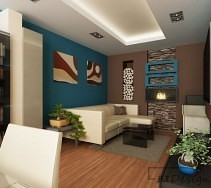 Nowoczesny salon w kolorach ziemi z kamieniem i kominkiem na ścianie