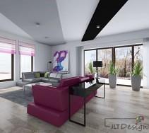 Nowoczesny salon z fioletową sofą