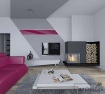Salon z kominkiem design