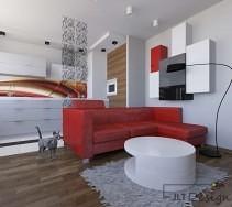 Salon z czerwoną sofą