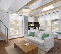 Biało miętowy salon z drewnianymi elementami wystroju