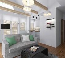 Niepowtarzalne wnętrze z belkami stropowymi