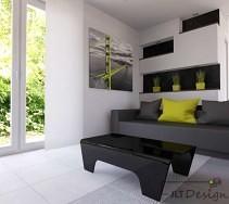 Kontrasty w salonie: białe ściany i czarne meble